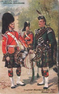 """Artist Signed Postcard View of """"Camron Highlanders"""" By H. Payne, 1913"""