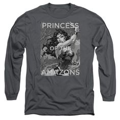 JLA/PRINCESS OF THE AMAZONS-L/S ADULT 18/1-CHARCOAL