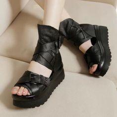 beaa19f1f97 Fashion Womens Casual Open Toe Ankle Zipper Platform Wedge Punk Sandals  Shoes