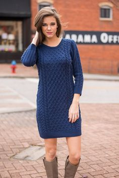 Inspired By Love Sweater Dress, Blue