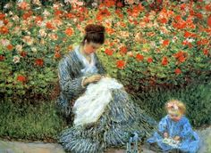 Camille Monet and a Child in the Artist's Garden in Argenteuil - 1875, Claude Monet