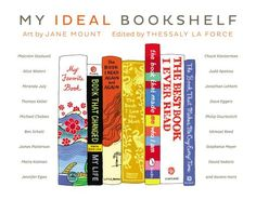 Each author has a two-page spread with an illuminating essay on the left and an illustration of his/her favorite books on the right. That's the fun part--like looking at a bookshelf--you can even see the publisher's logo on the spine!