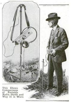 The January 1916 issue of Popular Mechanics showed the portable radio transmitter-receiver. The set was designed to be strapped to the waist, and was believed to the designer, Dr H Barringer Cox, to be particularly suited for military use. The antenna and ground consisted of a wire of about 4 or 5 feet in length running to a 'canelike metal rod'. For military use, the wire could run down a trouser leg to metal spurs in a soldiers boots. The set had a range of c. 18 miles.