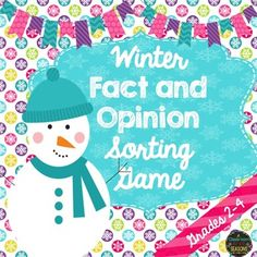 Free winter fact and opinion sorting game. Use in literacy centers, for early finishers or even at your classroom holiday party. Just cut and laminate to use year after year.