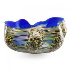 DALE CHIHULY (b. 1941) Blue Macchia, Seattle, WA, 1982 Blown glass Etched signature and date 7 3/4 x 14 1/2 x 10 1/4