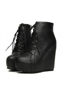 $31.99 Faux Leather Pure Color Hidden Platform Wedge Booties @MayKool