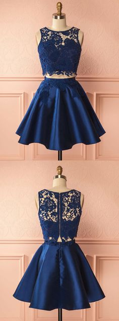two piece homecoming dresses,lace homecoming dresses,homecoming dresses short,dark blue hoecoming dresses