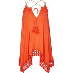 River Island Orange trapeze cami top ($64) ❤ liked on Polyvore featuring tops, cami / sleeveless tops, orange, women, trapeze tank, embroidered tank, embroidered top, camisole tank and tall tank tops