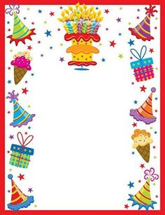 Teacher's Stuff Raquel: Decorative edges for cards, texts Birthday Clips, Birthday Frames, Happy Birthday Celebration, Birthday Greetings, Birthday Scrapbook, Scrapbook Paper, Printable Border, Boarder Designs, Boarders And Frames