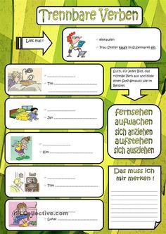 1000+ images about German-TRENNBAREN VERBEN on Pinterest   Deutsch ...