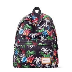 Black Red Blue White Green Colorful Tropical Hawaiian Floral Print Girls School Backpack Durable Water-proof Polyester Travel Bag