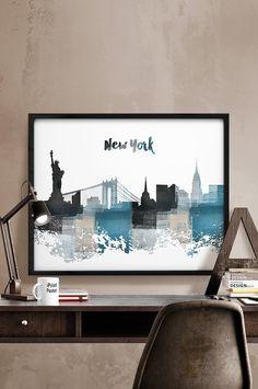 New York print New York skyline New York poster by iPrintPoster