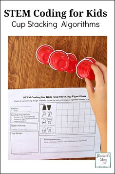 STEM Coding for Kids : Cup Stacking Algorithms - Children can learn about building algorithms by creating the steps need to replicate a cup stacking creation they have made. It is a great coding activity for children at home or students at school.