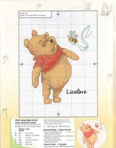 `winnie the pooh Tiny Cross Stitch, Cross Stitch For Kids, Cross Stitch Needles, Cross Stitch Charts, Blackwork Embroidery, Hand Work Embroidery, Cross Stitch Embroidery, Modern Cross Stitch Patterns, Cross Stitch Designs