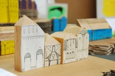 I've always wanted to make simple blocks based off important buildings in our lives.  These would be adorable all lined up on a shelf like a cool Christmas village.