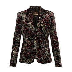 Roberto Cavalli Morris-print velvet blazer (€1.370) ❤ liked on Polyvore featuring outerwear, jackets, blazers, blazer, tops, black multi, flower print blazer, slim jacket, tailored jacket and tailored blazer