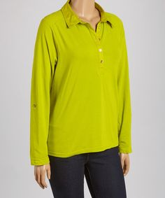 Love this Mad Lime Quilted-Shoulder Button-Front Top - Plus by Caribbean Joe on #zulily! #zulilyfinds