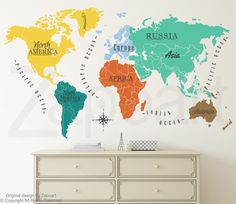 High resolution world map pdf bing images pinterest world map w continents ocean names wall decal gumiabroncs Image collections