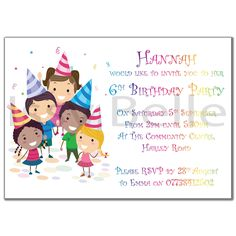 Personalised Invite Childrens Birthday Party Invitations Children in Hats Girl Boy