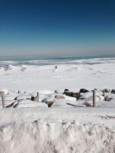 Snowy Michigan lake