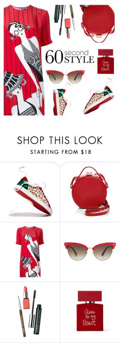 """""""Untitled #779"""" by m-jelic ❤ liked on Polyvore featuring Christian Louboutin, Nico Giani, Holly Fulton, Gucci, Clinique, Bella Freud, tshirtdresses and 60secondstyle"""