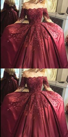 new fashions ball gown lace Prom dresses Formal Dress burgundy Prom Dresses Sexy off the shoulder satin Evening Gowns