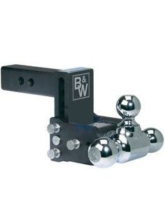 "BW20048B --- B&W 2.5"""" Shank Tow and Stow Adjustable Tri-Ball Mount with 1-7/8"""", 2"""" and 2-5/16"""" Chrome Hitch Balls, 5"""" Maximum Drop - Made in the USA"