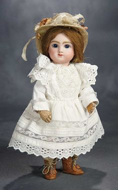 Petite French Bisque Bebe, Rare Model Figure C, Size 4, by Jules Steiner 2800/3500