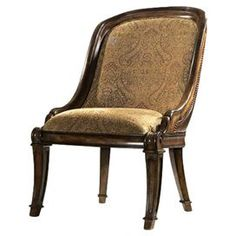 """Knotty cherry and walnut burl wood side chairs with a nail-head trimmed leather back and paisley upholstery.      Product: ChairConstruction Material: Knotty cherry wood, leather and walnut burl woodColor: MarroneFeatures: Nailhead trimDimensions: 40"""" H x 26"""" W x 29"""" D  For over 124 years, Bernhardt has represented fine American craftsmanship and lasting design, encapsulating the best of classic and contemporary stylings."""