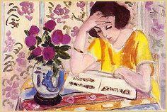 Liseuse au bouquet de roses