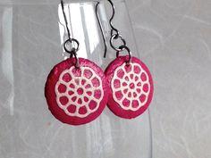 Small Magenta Round Hanji Paper Earrings Hot Pink Fuscia Dangle Flower Wheel Design Lotus Flower Hypoallergenic hooks Lightweight Ear rings
