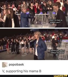 Taehyung supporting his mom Baekhyun Bts Bangtan Boy, Jimin, Exo Memes, Bts And Exo, V Taehyung, Tvxq, K Idols, Kpop Groups, Chanyeol