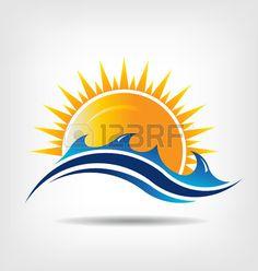Sea and sun season. Vector icon Abstraction of summer season. This icon serves as idea of summer time,beach relax ,sunny ocean, waves beach, surf adventure, sunset day. Stock Vector - 27204846