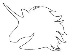 Unicorn Head pattern. Use the printable outline for crafts, creating stencils, scrapbooking, and more. Free PDF template to download and print at http://patternuniverse.com/download/unicorn-head-pattern/
