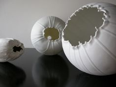 Rebecca Maeder - pretty 'pods,' reminiscent of poppy seed pods, crackly and crisp! Ceramic Clay, Ceramic Bowls, Ceramic Pottery, Pottery Art, Ceramic Techniques, Pottery Techniques, Organic Sculpture, Organic Ceramics, Organic Art