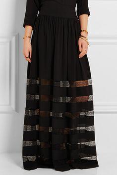 Michael Kors Collection | Lace-paneled silk-georgette maxi skirt | NET-A-PORTER.COM