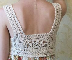 crochet yoke on fabric dress