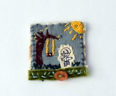 Textile art collage - Boy and his tree swing pin and display by judithadesigns09 on Etsy