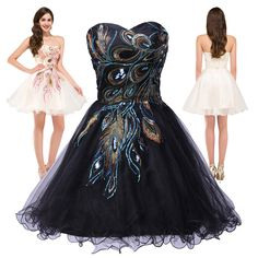 4013c76aafe0 Peacock Party Teen Graduation Dress Evening Short Cocktail Prom Bridesmaid  Dress in Clothing