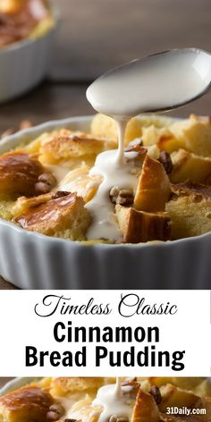 Timeless Classic: Cinnamon Brioche Bread Pudding – 31 Daily Do you end up picking canned foodstuff or … Dessert Simple, Köstliche Desserts, Dessert Recipes, Plated Desserts, Pudding Desserts, Brioche Bread Pudding, Bread Puddings, Cinnamon Bread Pudding Recipe, Easy Bread Pudding