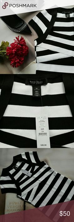 WHBM BandageTop Brand new with tags, this is a thick well constructed top. Features cap sleeves, a very unique neckline with a criss-cross draping across the bust. I bought this but really needed a petite. White House Black Market Tops