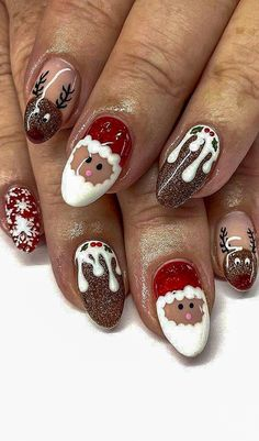 Christmas Awesome Nails Design and Decoration Ideas Part 35 - Nails - Red Unicorn Winter Nail Art, Winter Nails, Christmas Nail Art Designs, Christmas Nails, Coffin Nails, Acrylic Nails, Us Nails, Cool Nail Designs, Nails Design