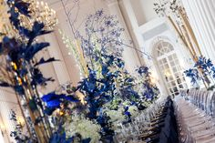 Navy Blue Wedding Reception in Rydzyna Castle by artsize.pl