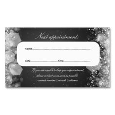 Appointment Card Sparkling Night Black Business Card Template. This great business card design is available for customization. All text style, colors, sizes can be modified to fit your needs. Just click the image to learn more!