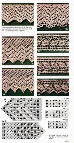 Crochet Edging Tricot My: Barrados Lace Knitting Stitches, Lace Knitting Patterns, Knitting Charts, Lace Patterns, Hand Knitting, Stitch Patterns, Tricot D'art, Knit Edge, Crochet Borders