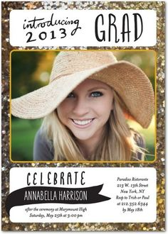 Adorable gold glittered graduation invitation! Don't forget to enter our Pinterest Graduation Sweepstakes before May 10. Details on our Graduation Board!