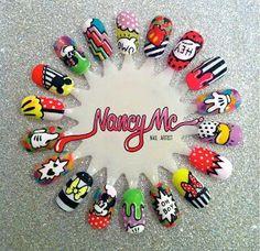 Something Beautiful: Nancy Mc Nails! Pop Art Nails, Cute Nail Art, Cute Nails, Pretty Nails, Minnie Mouse Nail Art, Mickey Mouse Nails, Mc Nails, Nail Art Wheel, Tumblr Nail Art