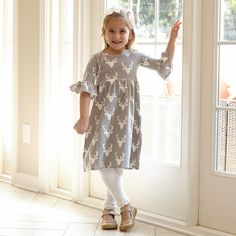 Girls Gray White Deer Knit Liv Dress – Lolly Wolly Doodle