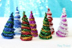 Pipe Cleaner Trees Christmas Craft for Train Sets and Small Worlds from Play Trains! adapt for ornament