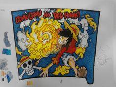 My custom tumbler sleeve of Luffy's Red Hawk